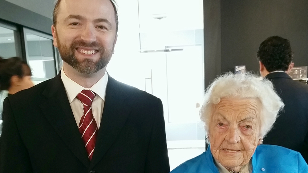 Slava Apel with Mayor Hazel McCallion