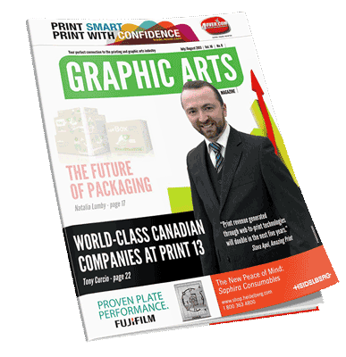Slava Apel on the cover of Graphic Arts Magazine | July/August 2013