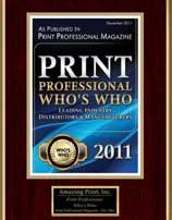 2011 Who's Who Award Leading Industry Suppliers | Print Professional Magazine