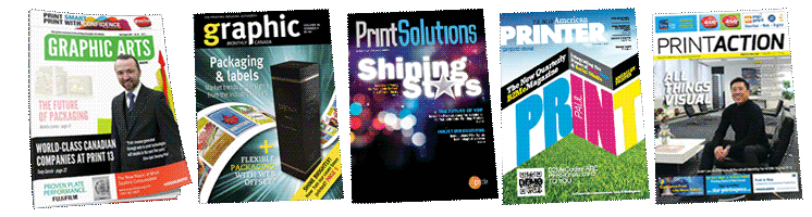 5 Magazines Slava Apel writes for: Graphic Arts, Print Action, American Printer, Printing Solutions, Graphics Monthly