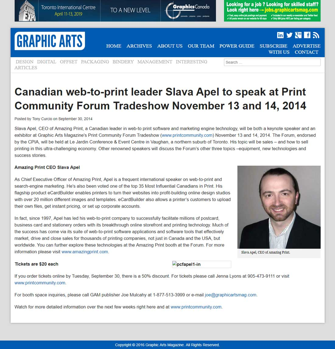 Canadian web-to-print leader Slava Apel to speak at Print Community Forum Tradeshow November 13 and 14, 2014
