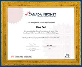 Recognition Award, Slava Apel, for Canada InfoNet Employment Acceleration and Mentorship Program
